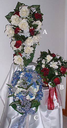 Heavenly silks custom designed silk flower arrangements for all 21 long x 45 overall for the bride burgundy roses glistening with dewdrops are nestled in a cascading bouquet of gardenias with stephanotis mightylinksfo
