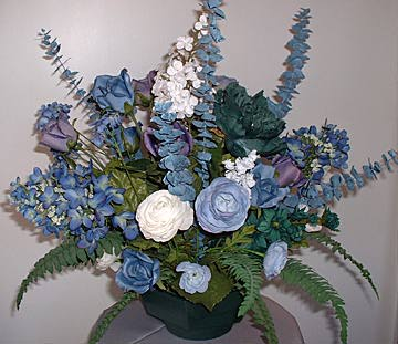 Heavenly silks custom designed silk flower arrangements for all blue skies mixed floral centerpiece 30 high in hunter green hexagon planter lavender and blue centerpiece with roses hyacinth and rannaculus mightylinksfo
