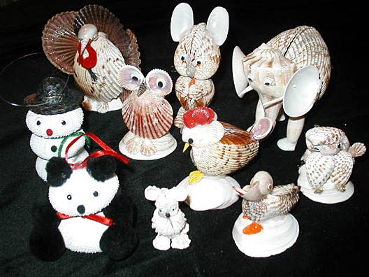 Sea treasures clocks picture frames tissue boxes for Animals made out of seashells